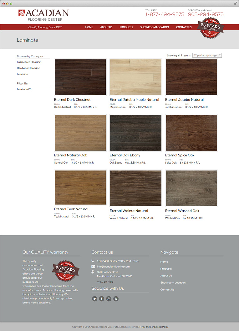 Acadian flooring center website design toronto gosek for Acadian flooring